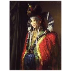 Portrait of a Mongolian Bride by Batjargal Tseyentsogzol, Mongolian (b. 1966-)