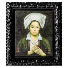 Portrait of a Tibetan Girl 'Figurative Oil on Canvas, Shanghai, 1997'
