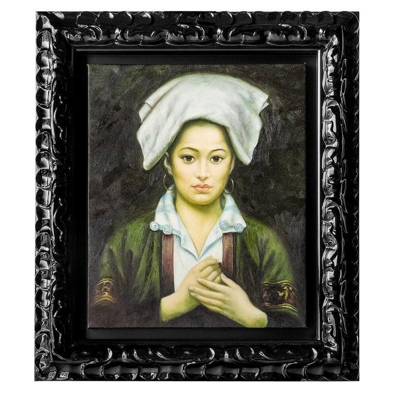 Portrait of a Tibetan Girl 'Figurative Oil on Canvas, Shanghai, 1997' For Sale