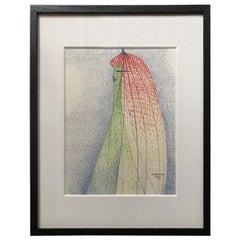 Portrait of a Woman Pointillist Gouache by Albert Radoczy #3