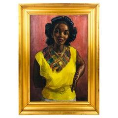 Portrait of a Women in Yellow Dress Oil on Canvas by Irwin D. Hoffman