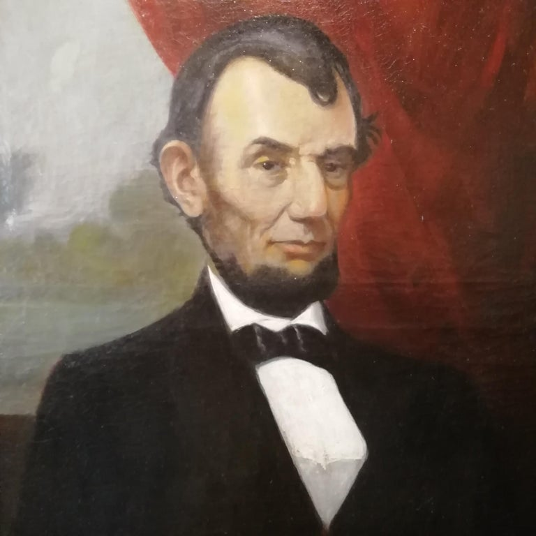 American Classical Portrait of Abraham Lincoln, Charles Brownell 19 Century Oil American Painting For Sale