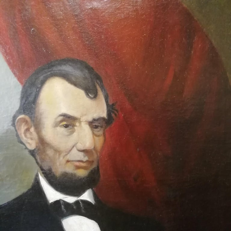 Oiled Portrait of Abraham Lincoln, Charles Brownell 19 Century Oil American Painting For Sale