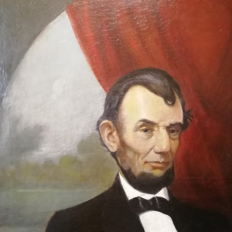 Portrait of Abraham Lincoln, Charles Brownell 19 Century Oil American Painting In Good Condition For Sale In Rome, Italy