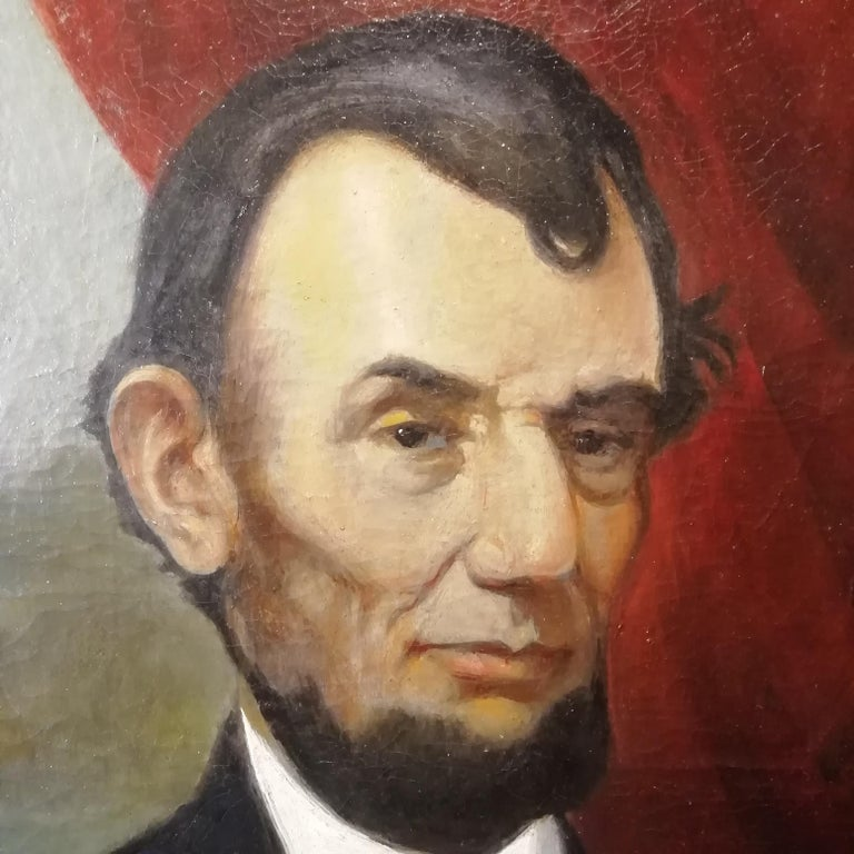 1860s Portrait of Abraham Lincoln, Charles Brownell 19 Century Oil American Painting For Sale