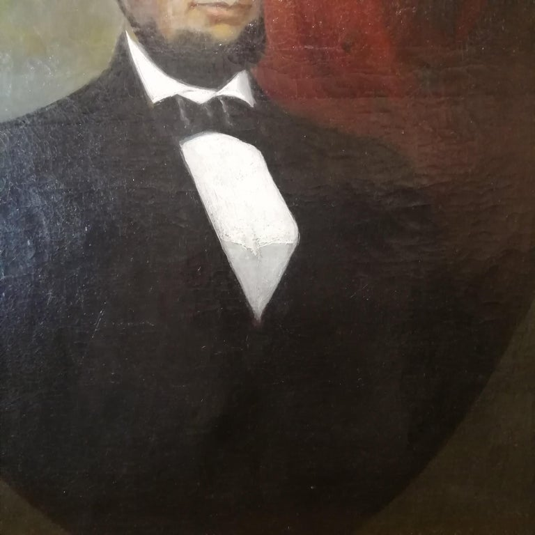 Canvas Portrait of Abraham Lincoln, Charles Brownell 19 Century Oil American Painting For Sale