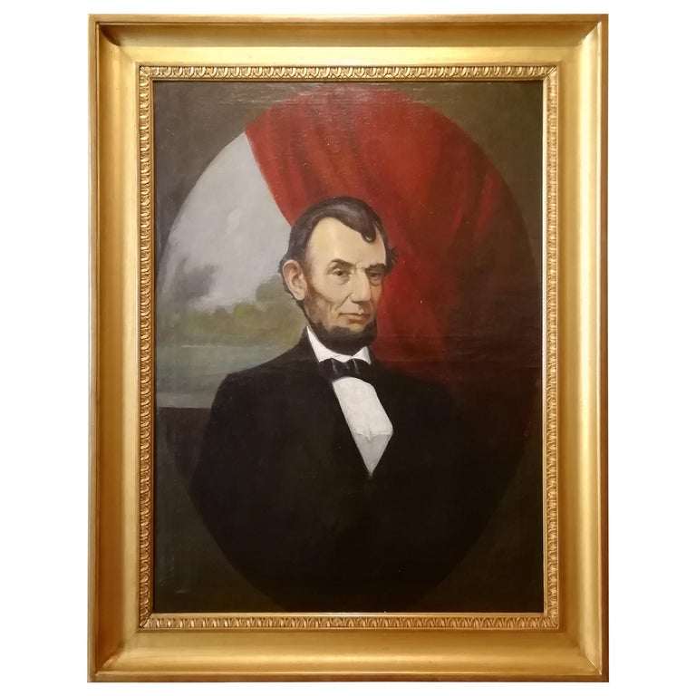 Portrait of Abraham Lincoln, Charles Brownell 19 Century Oil American Painting For Sale