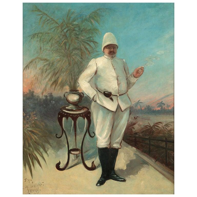 Portrait of Belgian Colonial Lieutenant L. Bergé, Congo, 1901, Oil on Canvas For Sale