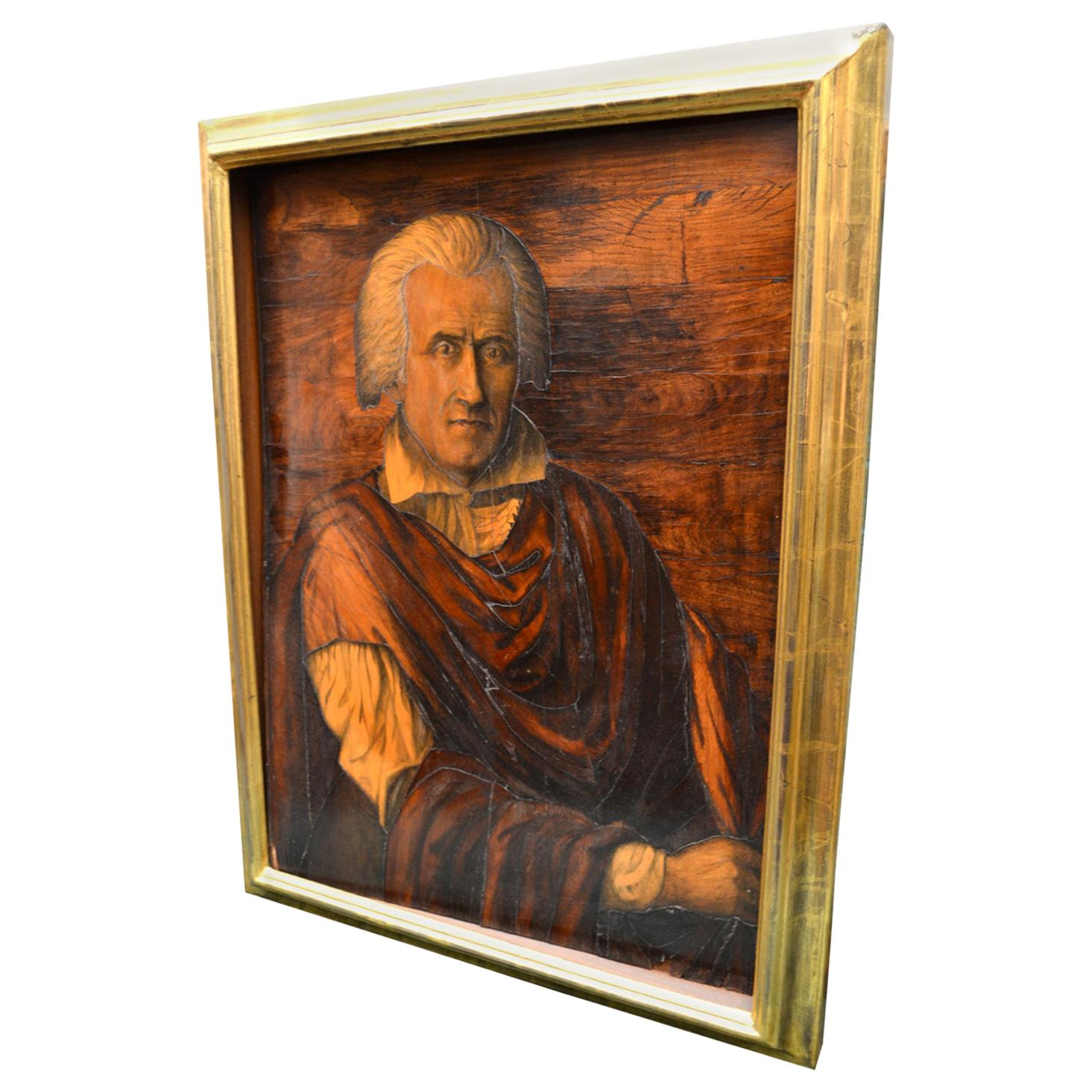 Portrait of Christopher Columbus All Made Lout of in Inlaid Woods