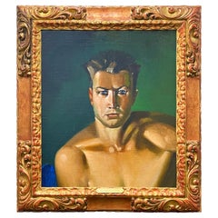 """""""Portrait of Gene Tunney,"""" Striking, Important Painting of Boxing Legend by Luks"""