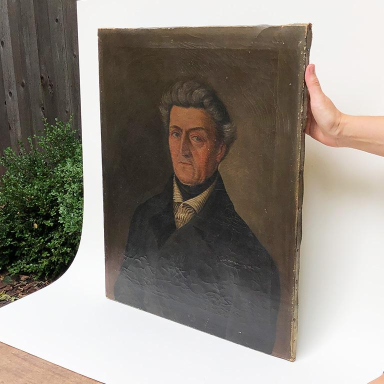 Oil on Canvas Painted Portrait of Georg Koch 1861 Germany Unframed 19th century In Good Condition For Sale In Oklahoma City, OK