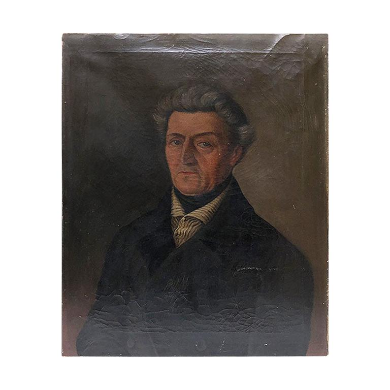 Oil on Canvas Painted Portrait of Georg Koch 1861 Germany Unframed 19th century For Sale