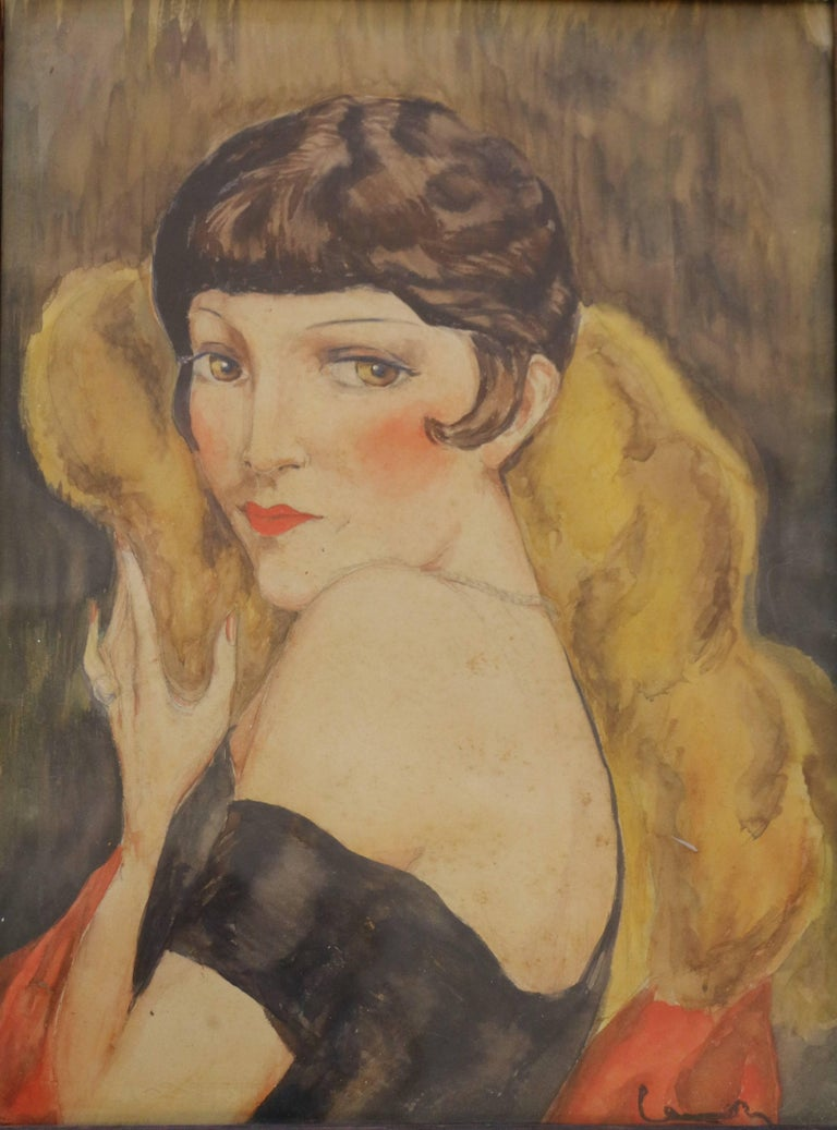 Portrait of Kiki de Montparnasse attributed to Charles Camoin (1879-1965). This watercolor on paper bears a