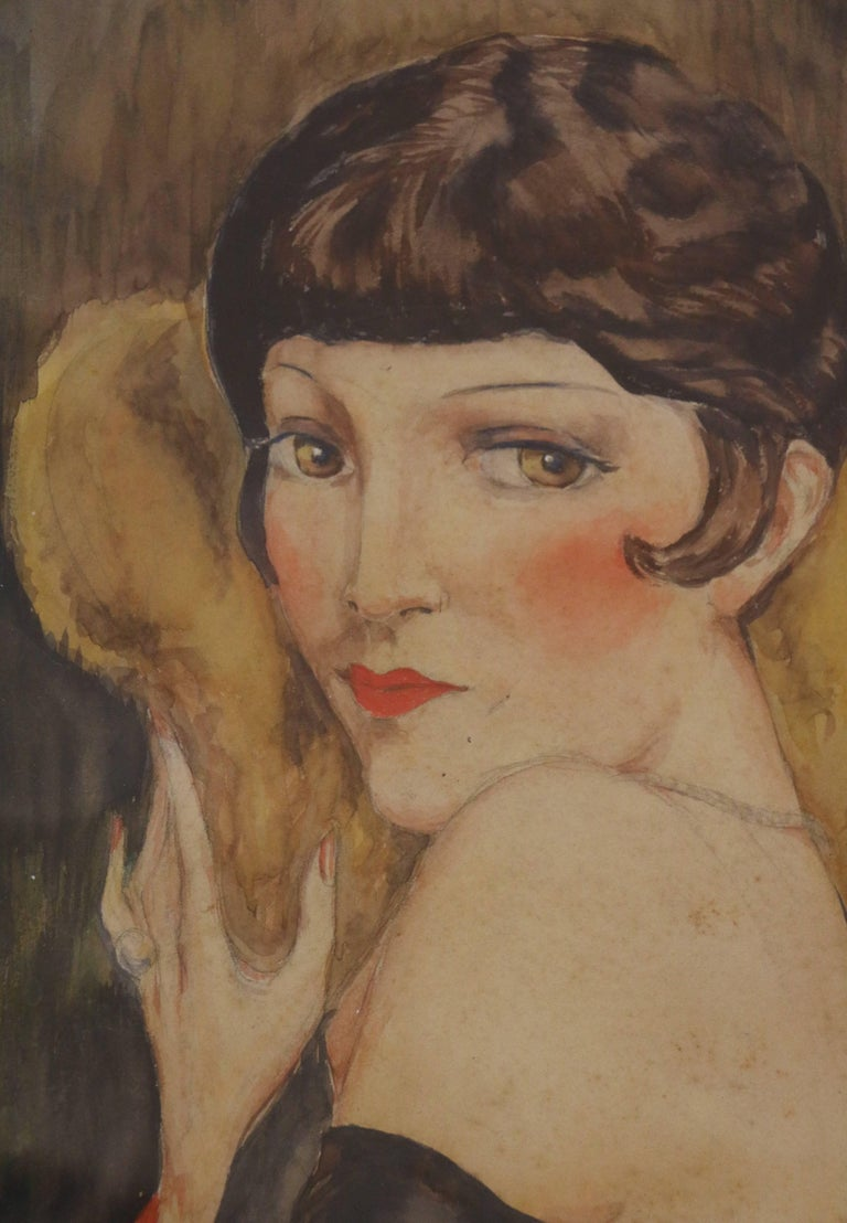 Art Deco Portrait of Kiki de Montparnasse by Charles Camoin 'Attributed', France, 1920s For Sale
