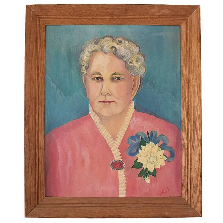 Vintage Portrait of Lady in Blue and Pink on Canvas in Wood Frame