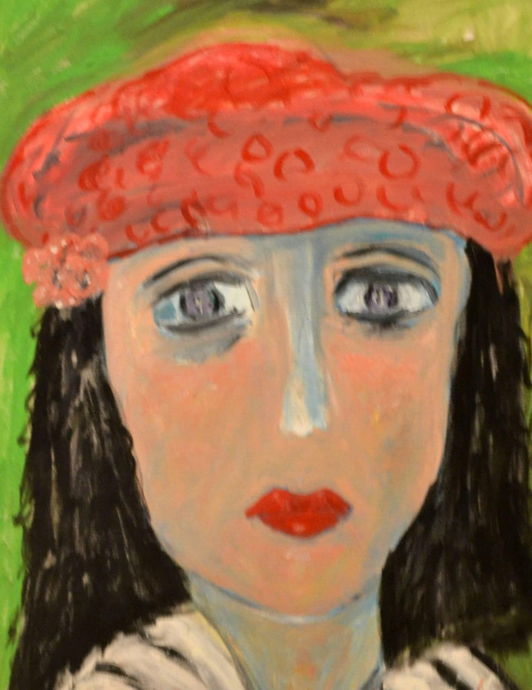 American Portrait of Lady With Red Beret Against Green by JoAnne Fleming For Sale