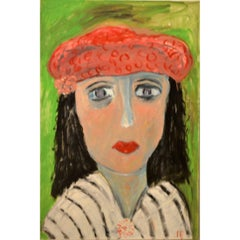 Portrait of Lady With Red Beret Against Green by JoAnne Fleming
