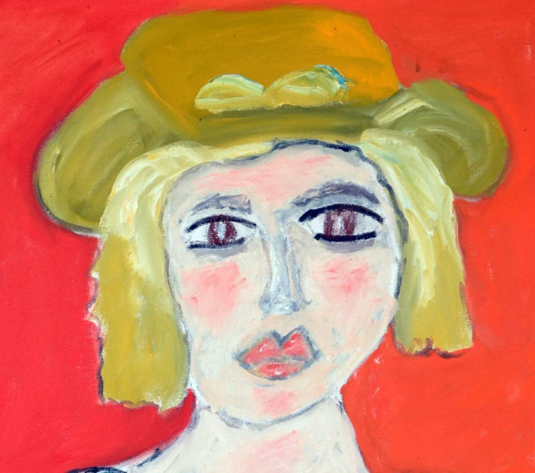 This exceptional expressionist painting titled Portrait of Lady With Yellow Western Hat Against Orange-Red is by highly listed and respected self-taught artist JoAnne Fleming (b. 1930). The artist's characteristic style exudes a primitive quality to