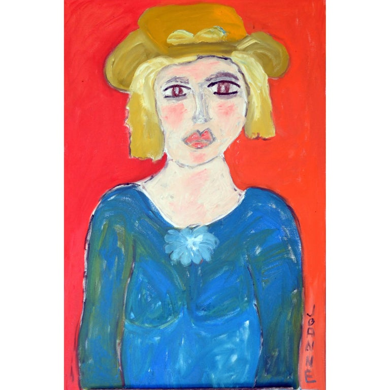 Portrait of Lady with Yellow Western Hat Against Orange-Red by JoAnne Fleming