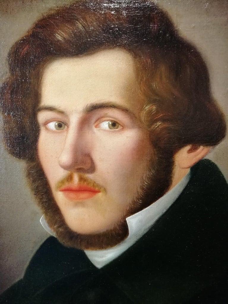 Italian Portrait of Literate, Giuseppe Bezzuoli Oil on Canvans Poet Writer, 19th Century For Sale