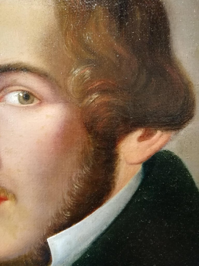 1830s Portrait of Literate, Giuseppe Bezzuoli Oil on Canvans Poet Writer, 19th Century For Sale