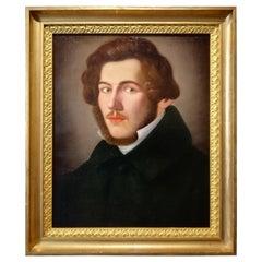Portrait of Literate, Giuseppe Bezzuoli Oil on Canvans Poet Writer, 19th Century