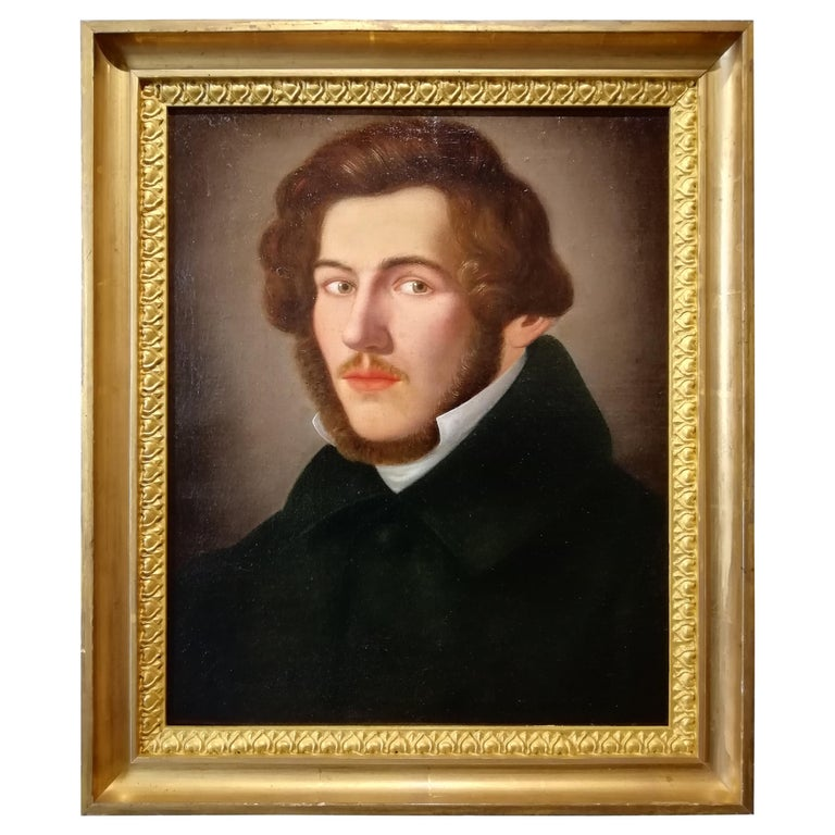 Portrait of Literate, Giuseppe Bezzuoli Oil on Canvans Poet Writer, 19th Century For Sale