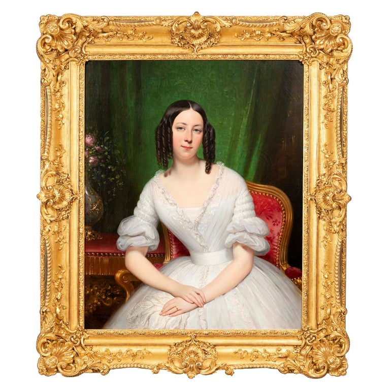 Portrait of Mrs. Poulet Painted and Signed by J.D. Court 1839, 19th Century For Sale