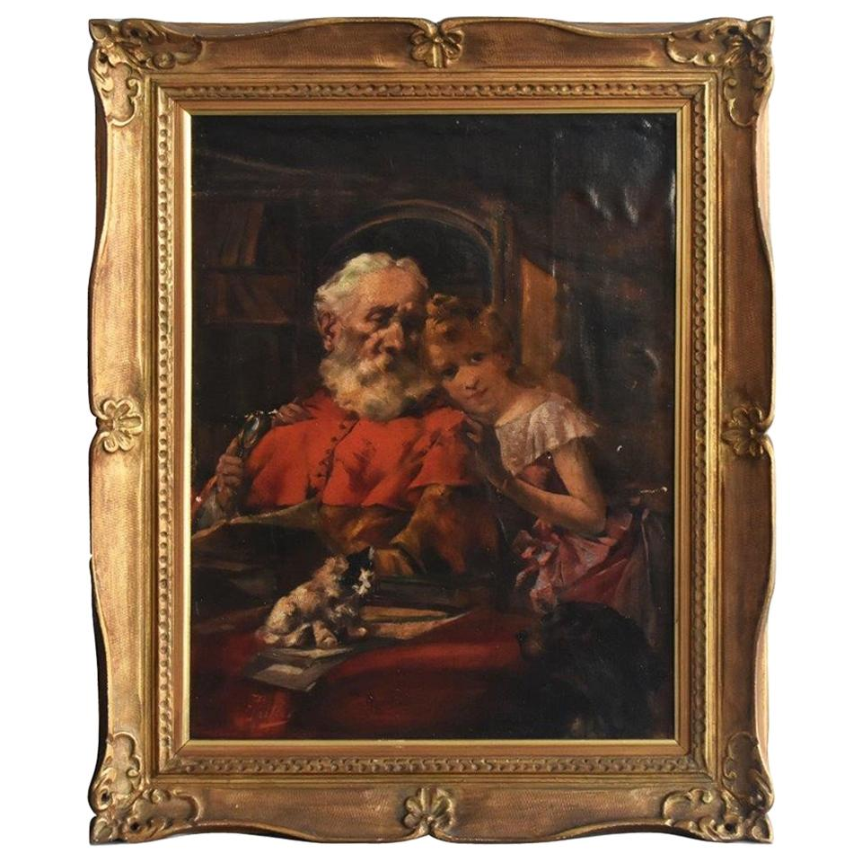 """""""Portrait of Old Man and Cat"""" Oil on Canvas by Paillet"""