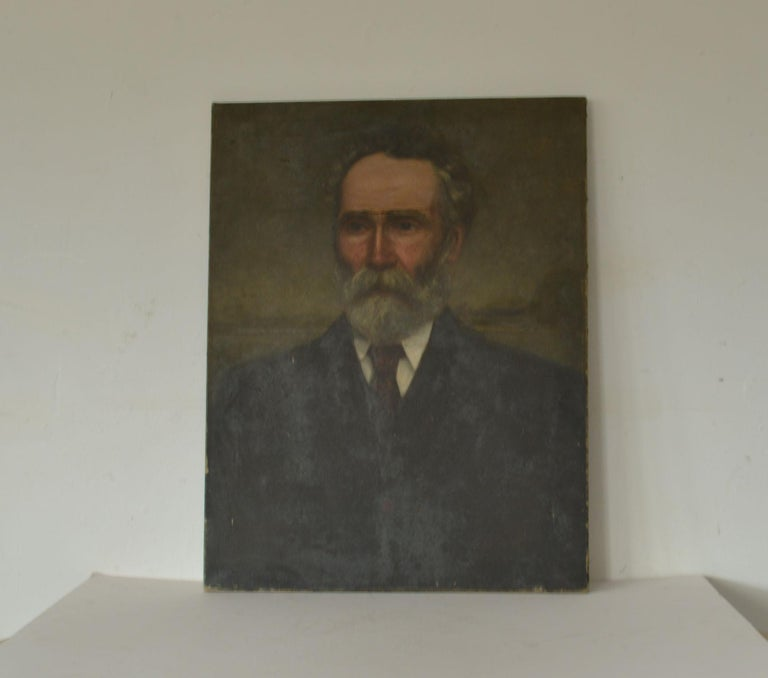Great portrait painting in unrestored condition  It is a portrait of the author George Cunningham aka Pate McPhun  Oil on canvas.  Tear across the eyebrow area and also a small tear further up in the background area.  Signed and dated bottom