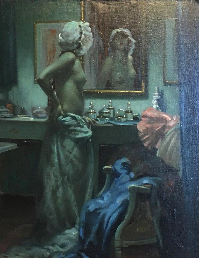 Very nice oil of a Semi Nude Lady viewing herself in the mirror, signed by the artist. Gold Leaf Frame.  Arnulf De Bouche 1872-1945 (German)  Arnulf de Bouché (born July 6, 1872 in Munich, † March 25, 1945 in Langkampfen) was a German nude, genre