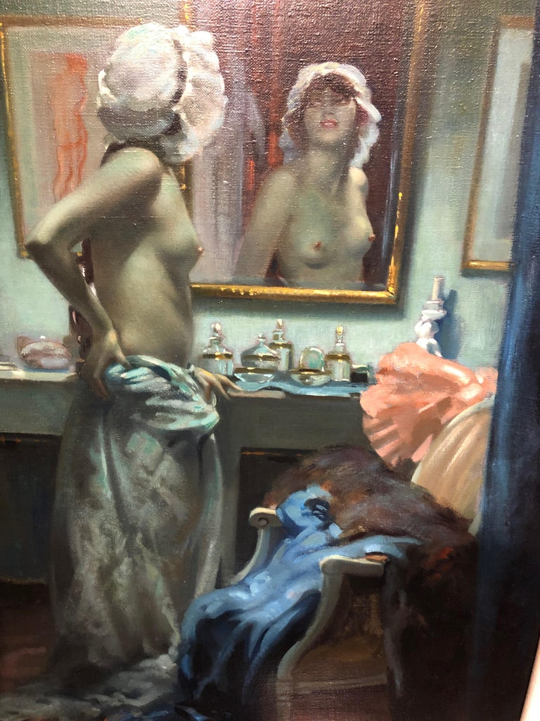 Other Portrait of Semi-Nude Lady in her Boudoir, by Arnulf De Bouche, circa 1900 For Sale