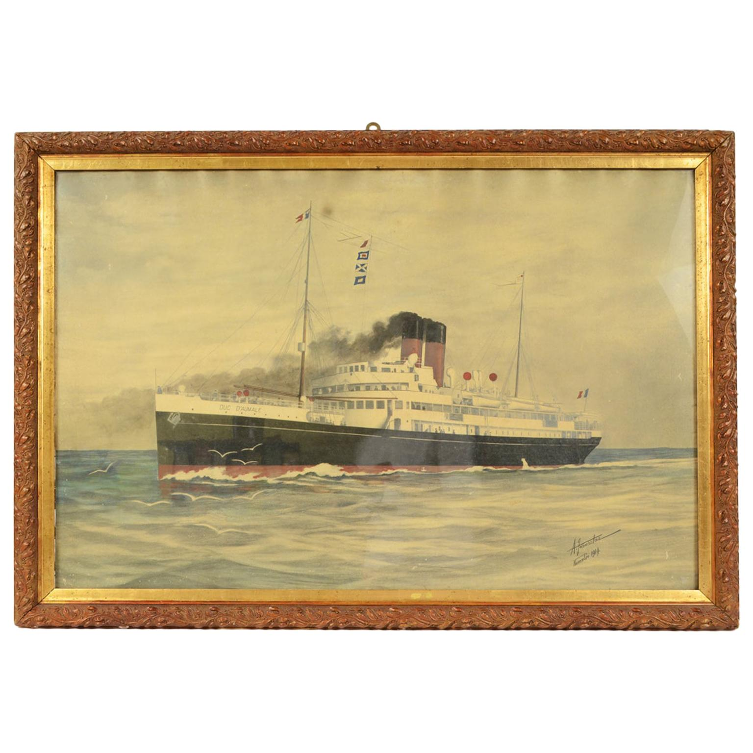 1914 Painting depicting the Duc D'aumale Transatlantic, Wash Drawing and Pastel