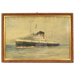 Portrait of the Duc D'aumale Transatlantic, Wash Drawing and Pastel, 1914