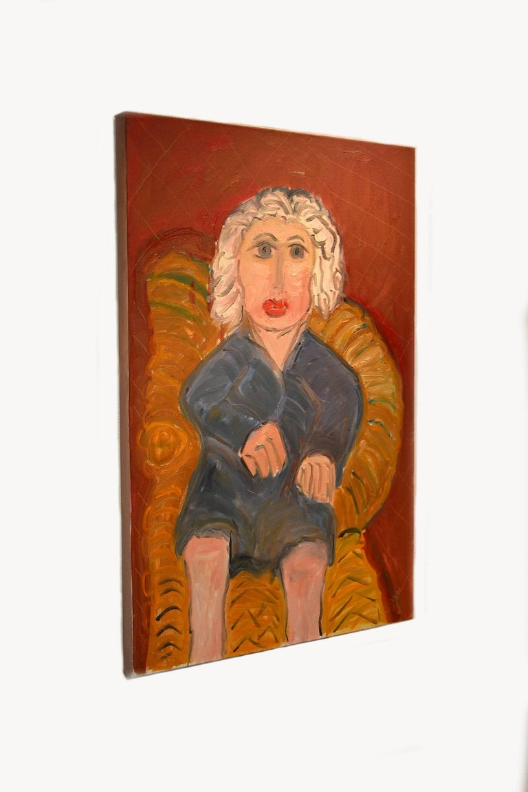 This exceptional painting titled portrait of white haired lady on wicker is by highly listed and respected self-taught artist JoAnne Fleming (b. 1930). The artist's characteristic style exudes a Primitive quality to each and every work of art she