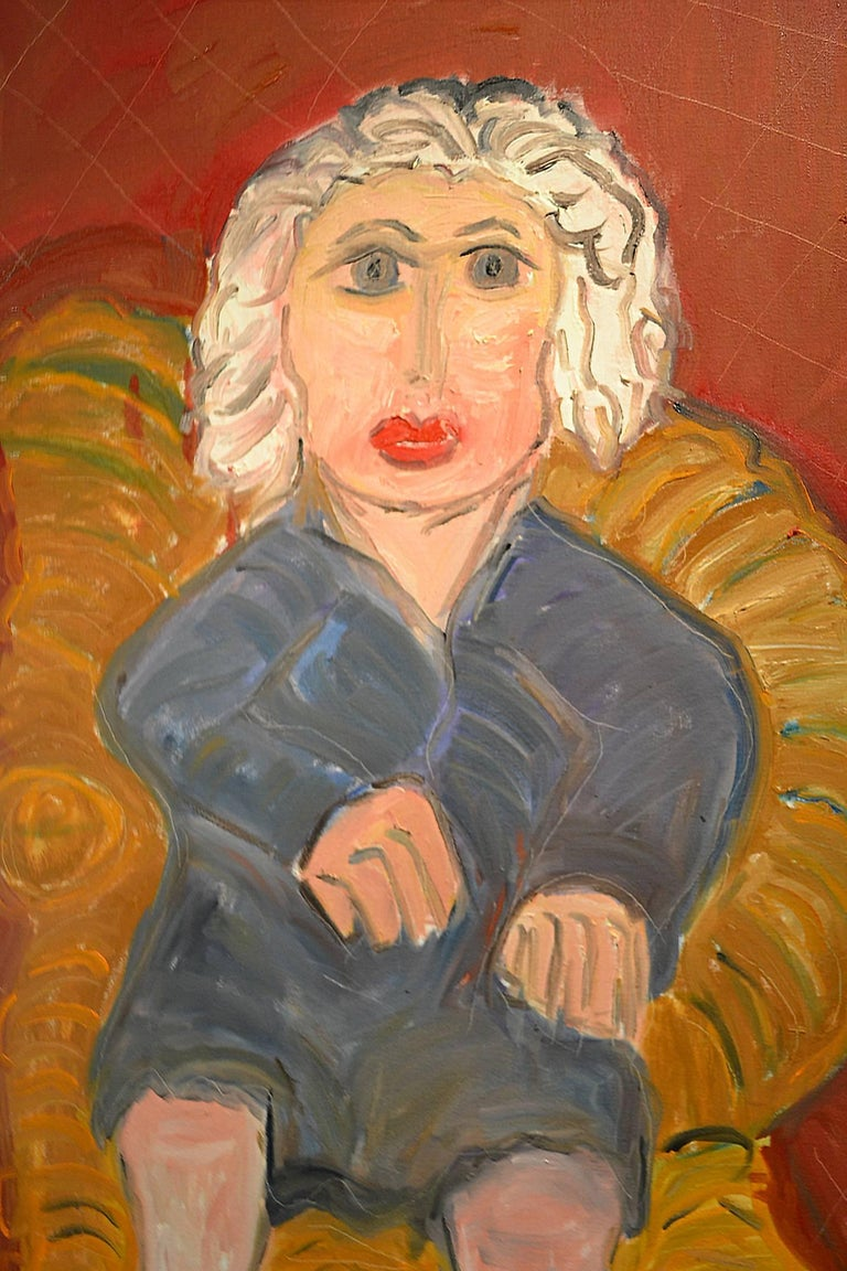 American Portrait of White Haired Lady on Wicker Chair by Artist JoAnne Fleming For Sale