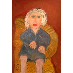 Portrait of White Haired Lady on Wicker Chair by Artist JoAnne Fleming