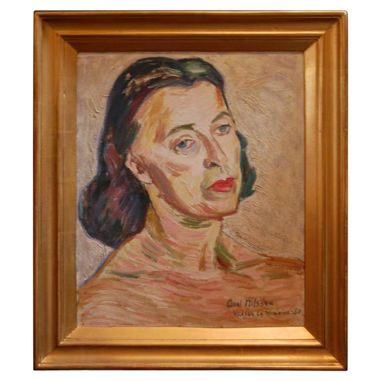 Portrait of Woman by Axel Nilsson dated 1950