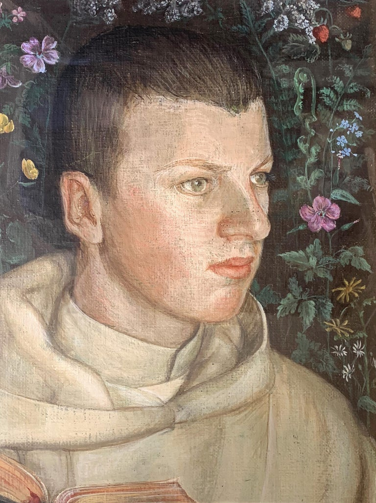 Suffused with youth, rosy health and spirituality, this gorgeous portrait of a young monk in the Camaldolese order, founded in Italy in 1012, was painted in 1934 by Vincentius, no doubt another member of the order. The young man is shown holding a