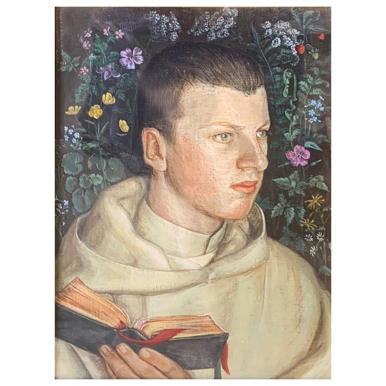 """""""Portrait of Young Camaldolese Monk,"""" Oil on Canvas, Italy, 1934"""