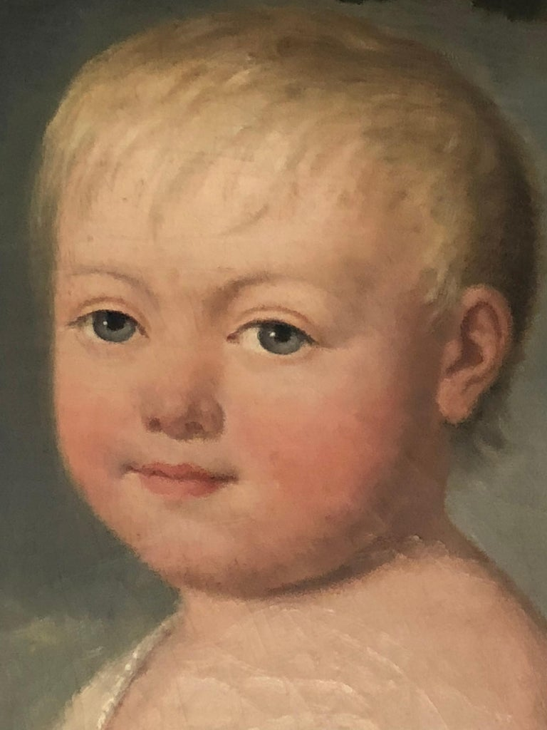 Painted Portrait of Young Child with Toys, 19th Century For Sale