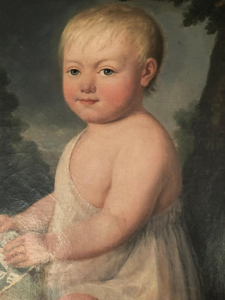 Portrait of Young Child with Toys, 19th Century For Sale 1