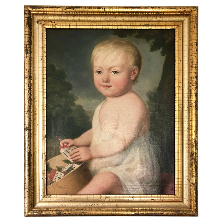 Portrait of Young Child with Toys, 19th Century For Sale