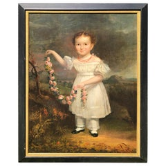 Portrait of Young Girl on Landscape New York Oil on Panel Signed Date 1830