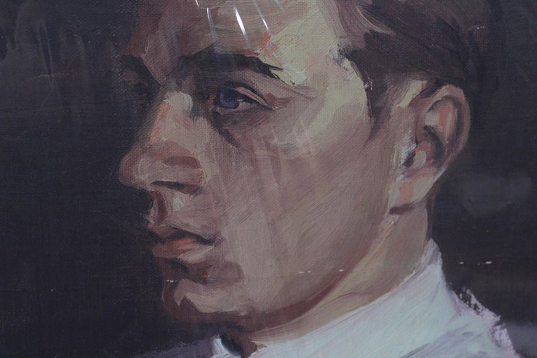 American Portrait of Young Man, Oil on Canvas For Sale