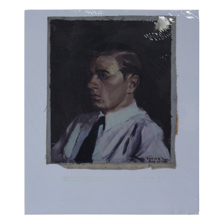 Portrait of Young Man, Oil on Canvas For Sale
