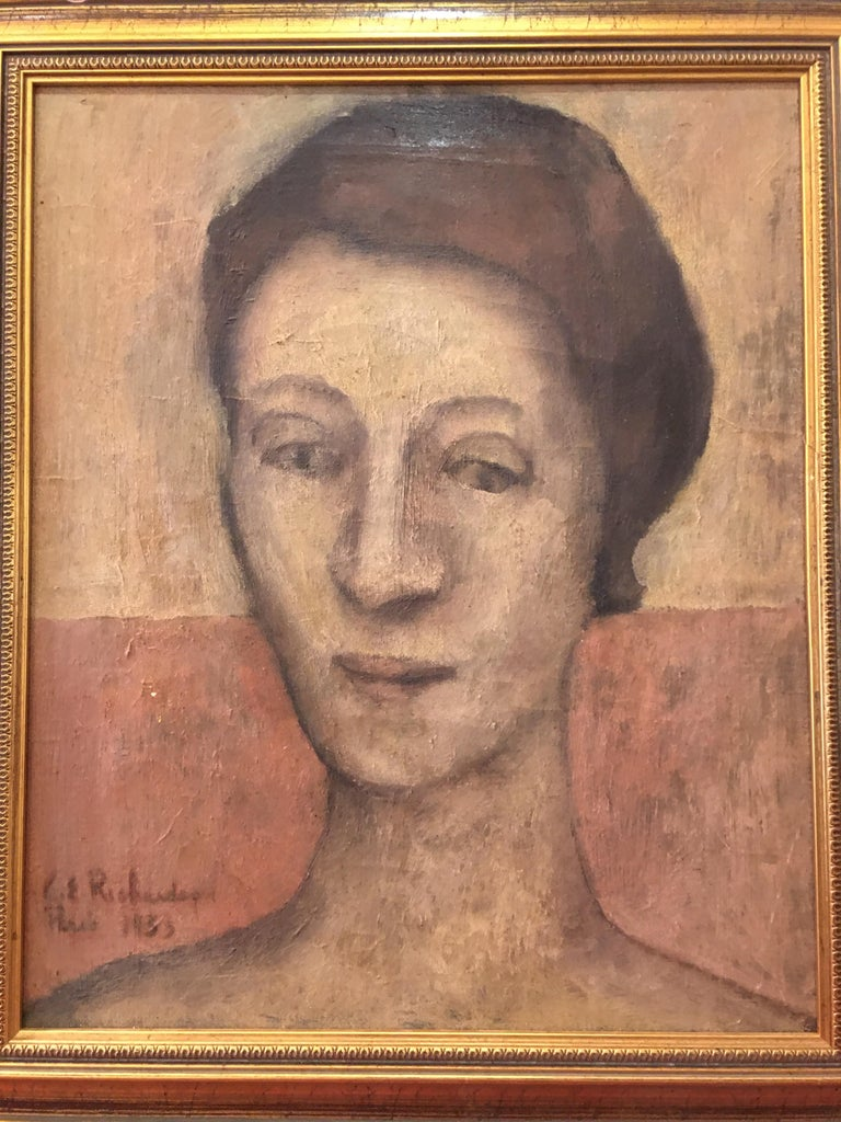 Nice French Portrait, Signed Richardson 1933. Ladies head and Shoulders, nice pallet of colors.