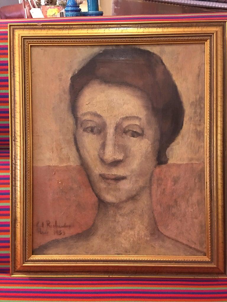 Portrait Oil on Canvas Painting Signed Richardson Paris 1933 For Sale 2
