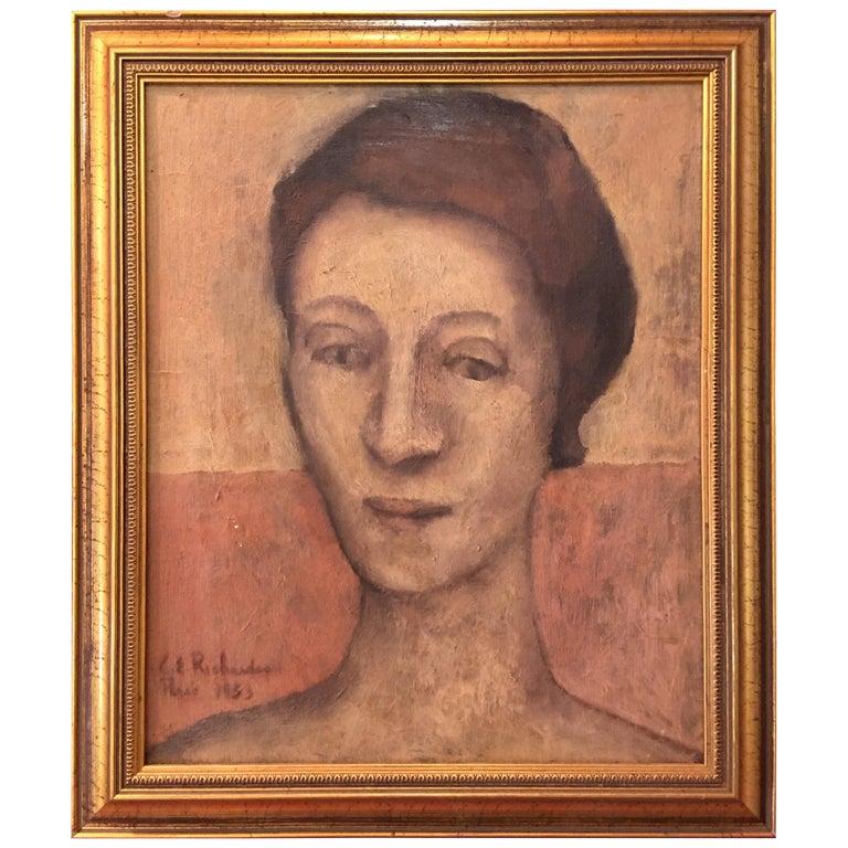Portrait Oil on Canvas Painting Signed Richardson Paris 1933 For Sale