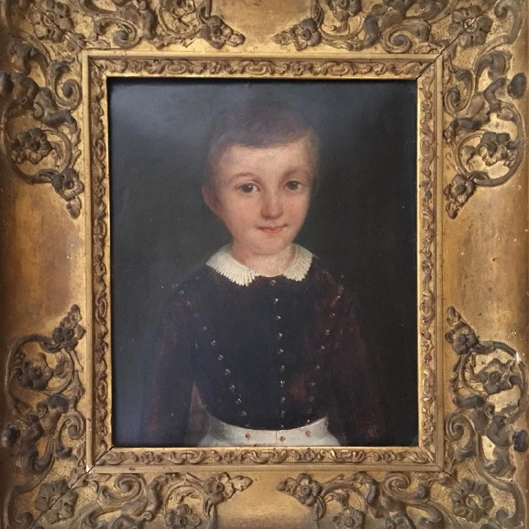 19th century, French, oil on 19th century millboard. Portrait of a young boy. This delightful little portrait of a young boy is in its original gilt frame and is signed 'Ht Colbert' (possibly the sitters name) and is dated 1846. It really is a very